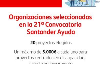 ASANHEMO entre las organizaciones seleccionadas en la 21ª Convocatoria Santander Ayuda