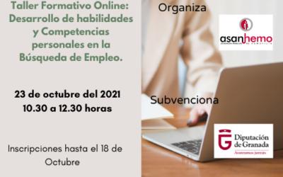 """Taller Formativo  """"Desarrollo de habilidades y Competencias personales en la Búsqueda de Empleo"""" con la colaboración de Diputación de Granada"""